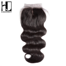 "[HJ WEAVE BEAUTY]Silk Base Closure Middle Part 4""x4"" Brazilian Body Wave Human Hair With Bleached Knots Remy Hair Free Shipping"