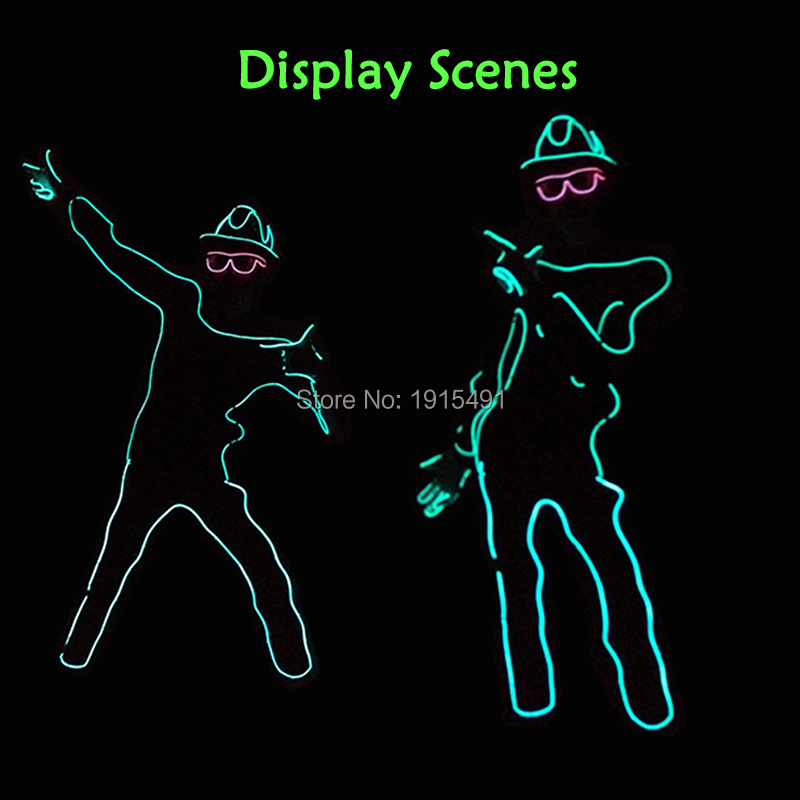 Neon Led Bulbs Night Lamp Gorgeours Paper Form Person with Hat DIY Funny Light Up EL Wire Clothes for Dark in Glow Party Props<br>