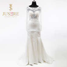 Illusion Scoop Neck Bodice Appliques Beading Long Sleeves Empire Waist Zipper up Soft Satin Skirt Slight Wedding Dress 2018(China)