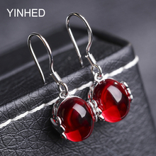 Send Identify Certificate! YINHED Red Corundum Jewelry Earring 925 Sterling Silver Synthetic Rubis Drop Earrings for Women ZE044