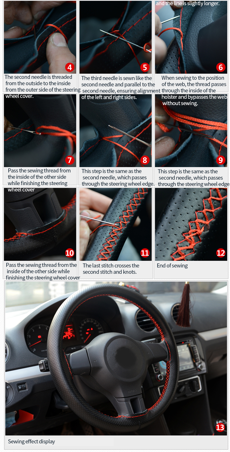 8 38cm Car Steering Wheel Cover Soft Leather DIY Sewing Kit Handmade Sewing Thread Needles Steering-wheel Covers Auto Accessories