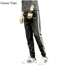 2017 New Mens Fashion Pants Decorated Colored Stripes Small Leg Opening Sweatpants Hip Hop Pants Street Wear Harem Pants K091(China)