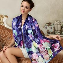 Women Genuine Silk Scarves Fashion Printed 100% Mulberry Silk Scarf Shawls Large Size Female Neckerchief Sunscreen FW201(China)