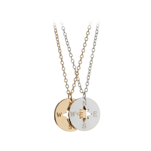 Hollow letter N S W E Compass Graphics Necklaces Pendants gold silver plated round fashion Necklace Gift for girl best friends
