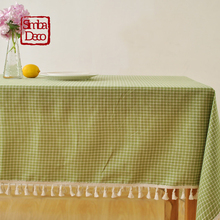 American Green Plaid Linen Table Clothes Cover For Dining Table Party Decoration Tassels Tablecloth Rectangular Outdoor Picnic(China)
