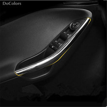 DoColors Car styling interior door cover armrest chrome trim for Ford Focus 3 mk3 2012-2016,auto accessory parts,2pcs/lot(China)