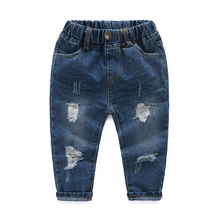 Vintage Hole Children Cowboy Trouser Fashion Fold Baby Boys Jeans Spring High-end Breathable Cotton Kids Boys Denim Pants Tide(China)