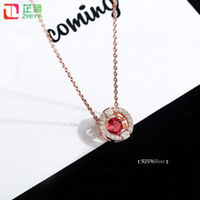 ZHIYA New Spring Style 925Silver Necklace Lovely Dancing Shiny Zircon Women Necklace Cubic Jewelry(China)