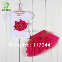 Vest Regular Meninos free Shipping Girl's 2pc/set Hello Kitty T-shirt + Gauze Skirt Set for Kids Clothes ,girls S Wholesale