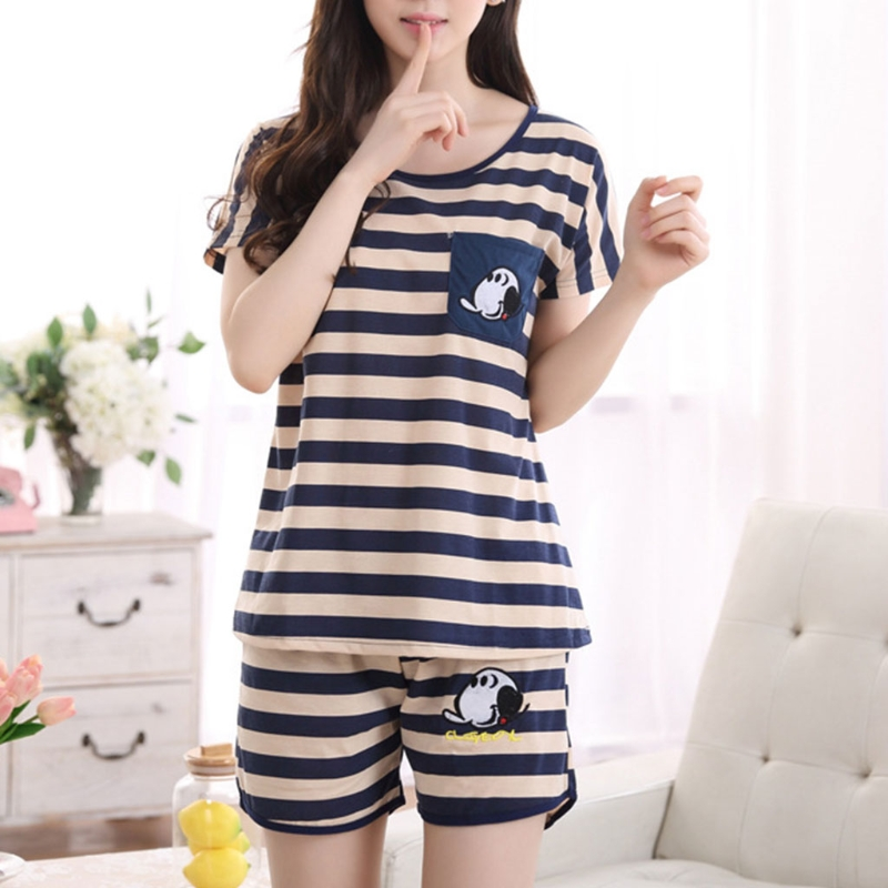 Women Cartoon Pajamas Short Sleeve Cotton Pyjamas Set Home Nightwear Sleepsuit(China)