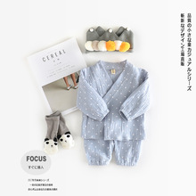 2pcs Children Sets Suits Infant Kids Baby Cute Belt Monk Long Sleeve Baby Boy Girl Clothes Pajama Sets Baby Sleepwear(China)