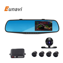 Car parking reversing backup alarm security system 4.3 inch car mirror DVR+rearview camera+4 parking sensors auto parking system