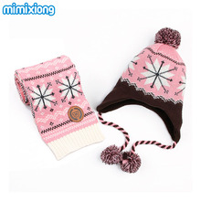 Children Baby Hat Scarf Sets Autumn Handmade Knitted Kids Boys Snowflake Pattern Hats + Scarves 2 Pcs Suits Winter Toddler Girls(China)