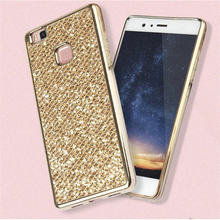 Plating frame+ Bling Glitter shining Soft Back Covers for Huawei P8 P9 Lite cellular mobile phone Shell Case Coque For Huawei P8