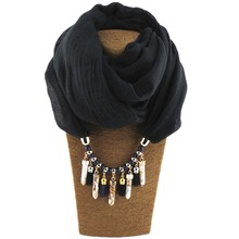 Fashion Stone Scarf Necklace Scarves Women Necklace Scarf Lady Tassel Warm bohemian jewelry autumn(China)