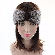 Crochet Knitted Headband Flower Winter Women Ear Warmer Headwrap Ladies buckle wool Headband #30(China)