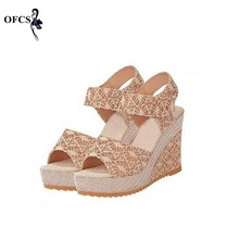 Best-Selling Women Sandals Size 35-40 Summer New Open Toe Fish Head platform High Heels Wedge Sandals female shoes women shoes(China)