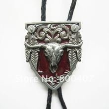 Retail New Classic Vintage Red Enamel Long Horn Bull Western Bolo Tie Wedding Leather Necklace Free Shipping BOLOTIE-WT076RD(China)