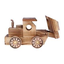 Kids Wooden Toy Simulation Wooden Bulldozer Car Model Handmade Crafts Cute Home Office Decorations Kids Boys Educational Toys(China)