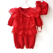 Baby Romper Girl Set Princess Style Newborn Baby Girl Clothes Set Soft Girls Lace Rompers+Hats 2 PCS Suit Flower Infant Jumpsuit(China)