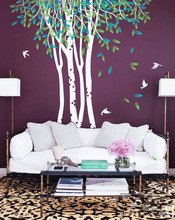 Large Birch Trees Ceiling High Wall Mural Forest Scene Sofa Art Piece Wall Stickers For Kids Room Huge Tree Baby Wall Decals 981