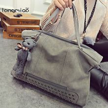 longmiao Retro Solid Rivets Bags Frosted Plain Leather Women Messenger Bag Large Capacity Tote Shoulder Ladies Moto Handbag