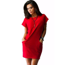 2016 Work Women Fashion Summer Dress Vestidos dresses Brand O-neck Black Red Blue Female style Casual Sexy dress Short sleeve