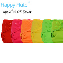 (6pcs/lot)Happy Flute OS Baby Cloth Diaper Cover With or Without Bamboo Insert,waterproof breathable S M& L adjustable(China)