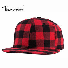 [TIMESWOOD]2016 Straight Brim Hip Hop Snapback Caps Men Women Winter Snapback Baseball Hats Red And Black Grid Casquette Bones