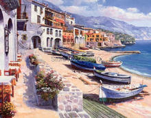 Mediterranean sea  oil painting  printed on canvas  Beach boat building landscape canvas prints european style picture