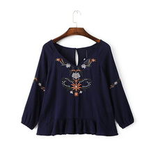 New 2017 Boho Women Shirt High Quality Deep V-neck Vintage Embroidered Tops Blusas Casual Ruffles 3/4 Sleeve Shirt Women Blouses