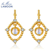 LAMOON 14K Yellow Gold Stud Earring 925 sterling-silver-jewelry Natural Blue Moon stone Party Earrings for Women Brincos EI051(China)