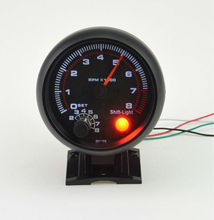 3.75inch (95.25mm) Black shell white Backlight LED Auto Tachometer gauge 0-8000 RPM Warning function Free shipping(China)
