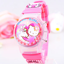 Great Value 1PC Retail Girls Children Waterball LED Flashing Light Watches KT Cartoon Character Kids Digital Wristwatches Gifts