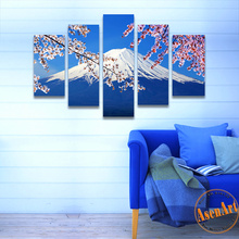 5 Pcs Print Art Fujiyama Snow Mountain Sakura Canvas Painting Blue HD Print Canvas Wall Art for Living Room Home Decor No Frame