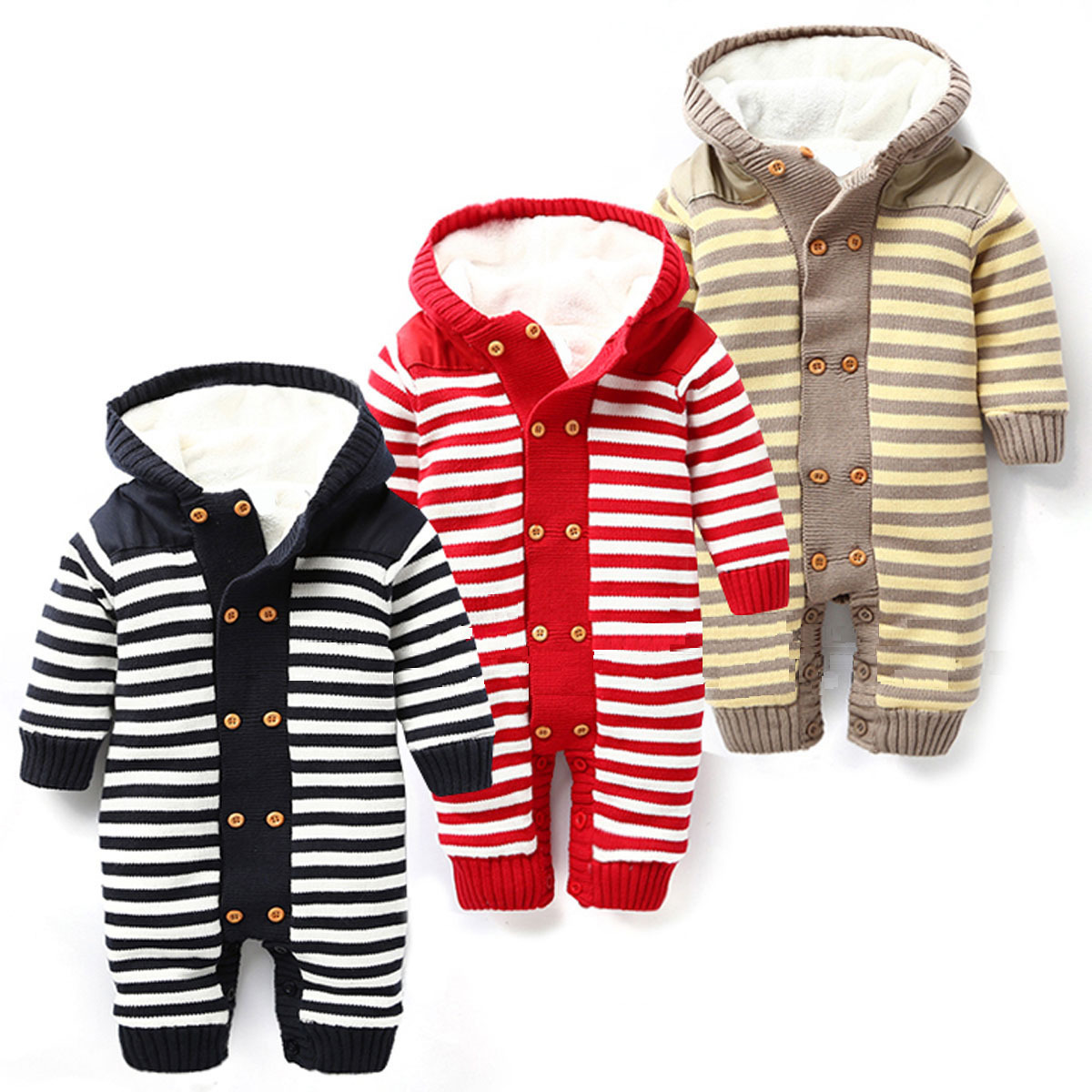 Newborn Autumn Winter Baby Rompers Thickened Winter Striped Hooded Knitted Sweater Warm Overalls Fleece Coat For Baby Girl Boy<br>