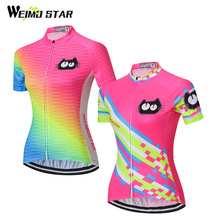 WEIMOSTAR Pro Team Summer Girls Ropa Ciclismo Fluorescence Womens Cycling Jersey Bike Clothing Pink Short Sleeve T-Shirt Tops(China)