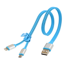Zipper 2 in 1 Date Line USB Data Sync Charger Cable(China)