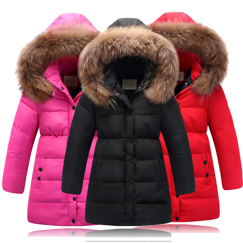for 4-12Years Children White Duck Down Jackets hooded long Boys girls Fur Collar coats high quality kids casual winter outwear<br>