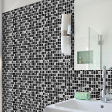 Self Adhesive Waterproof Black Marble Mosaic Wall Art Kitchen Furniture Tile Sticker 10 PCS Wall Decal 15*15cm/20*20cm(China)