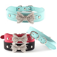 Dog Collar Bling Crystal Bowknot Leather Pet Collar Puppy Choker Cat Necklace XS S M Chihuahua Yorkie Maltese Pomeranian