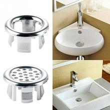 Ceramic Basin Sink Round Overflow Cover Ring Insert Replacement Tidy Chrome Trim Bathroom Accessories