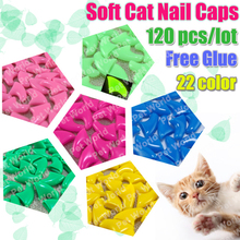 120pcs/lot  Soft Cat Pet Nail Caps Control Pets Silicon Nail Protector cat Claws Paws  free Adhesive Glue Size XS S M L