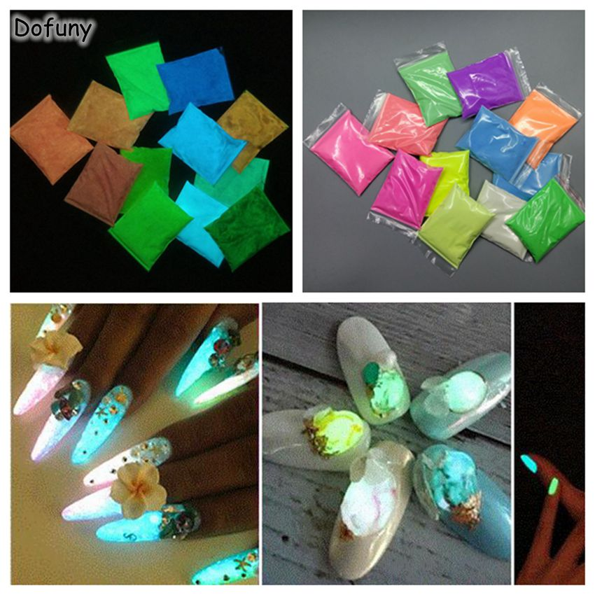 50g/bag Glow Nail Glitter phosphor Powder pigment Paint Coating Fluorescent Effect Glow in Dark Nail glitter Decorations(China)