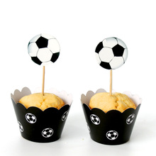 New Football Soccer Paper Cupcake Wrapper Toppers 12pcs Wrappers+12 pcs Toppers for Children Birthday Party Wedding Supplies