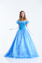 Halloween Cosplay Cinderella Snow White Bella Adult Clothing Blue Evening Dress Generation Hair(China)
