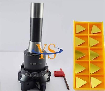 New R8 7/16 FMB27 face mill arbor+face end mill TP22-80-27-5T +10pcs TPKN2204  Triangle carbide insert CNC Mill<br><br>Aliexpress
