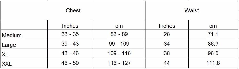 VIP Vest Size Chart