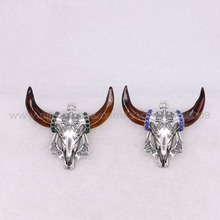 Cool! High quality buffalo pendant Resin bull head Horn stone Pendant OX born shape pendant Jewelry Accessories for women 2967(China)