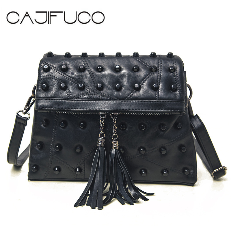 2018 Soft Lambskin Cross Body Bags Luxury Stud Handbag Black Rivet Tassels Shoulder Bag Designer Women Bag Sac De Plage Bolsa<br>